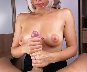 Teen Handjob for Neighbor and Cums on Tits POV