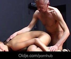 Skinny grandpa stings his prick..