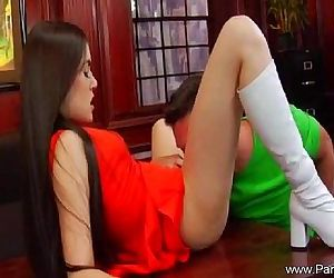 Brunette Long Hair Lady Lick And..