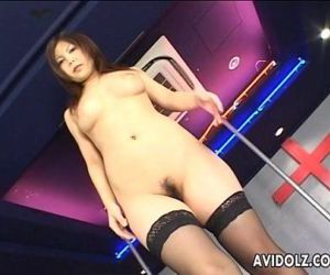 Japanese pole dancer pleases..