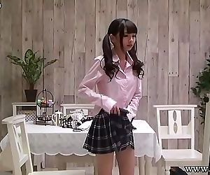 Japanese schoolgirl change uniforms 3 min HD