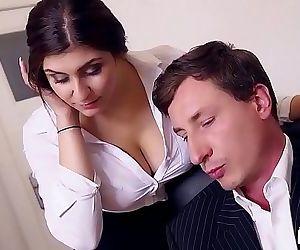 BUMS BUEROBoss fucks busty German secretary and jizzes on her fat tits Ten min HD+