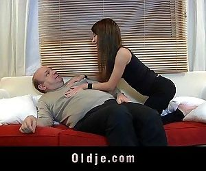 Old guy devoured by a young stunning creatureHD