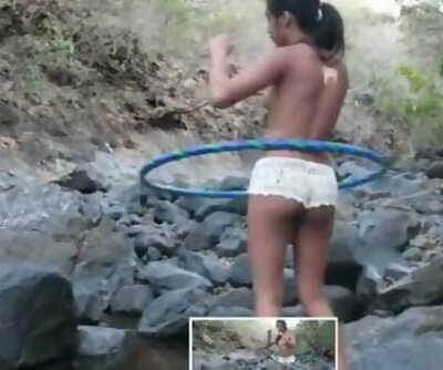 Married Desi Indian Teenage Hoola Hoop Flick for Money