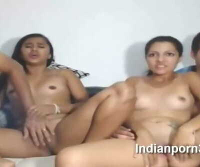 Desi foursome with beautiful youthful teen girls on live webcam