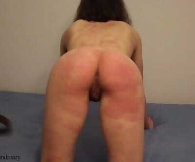 Quivering ass smacked with belt and used pussy fucked