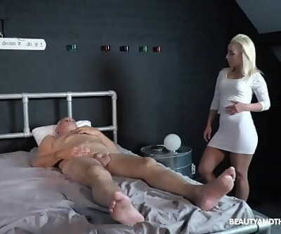 Grandpa wants to masturbate but step-niece comes and fucks him 5 min 720p