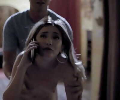 Slutty babysitter Jane Wilde cheats on her BF while he is on phone! 6 min