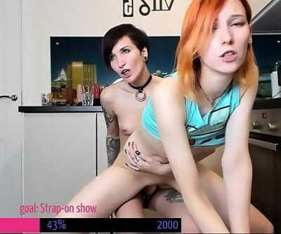 Elin Flame & Keoki lesbian belt cock ejaculation demonstrate 17 min 720p