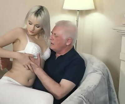 Young blonde hardcore deep throat and deep taut pussy fucking with grandpa in old young porno flick 10 min 1080p