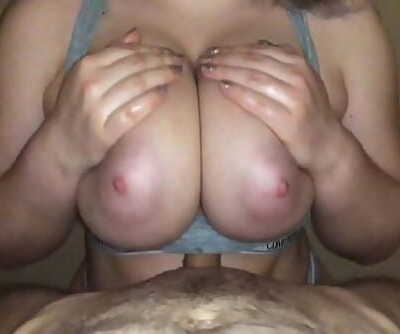 Titfuck in sports bra with huge natural hooters 15 min 1080p