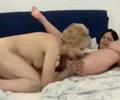 Granny Youthful Lezzie Lick Beaver and Ass