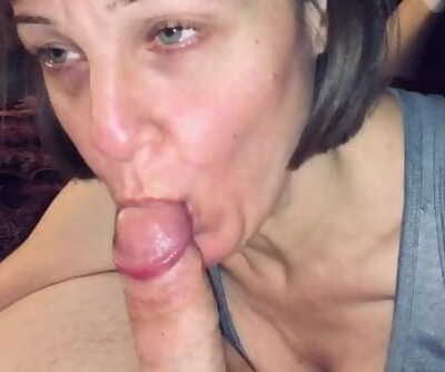 POV Mature MILF Enjoys Sucking him Dry