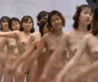 Japanese TV Game Showcase Calisthenics with 64 Naked Girls