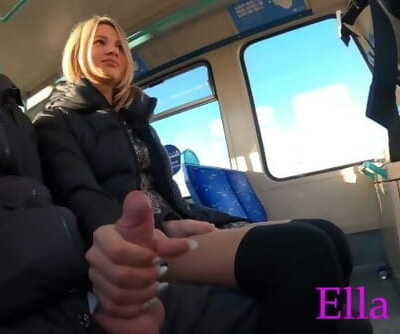 Stroking off a Stranger in London Public Train . Real Risky Unexperienced Outdoor Hand job by ELLA BOLT