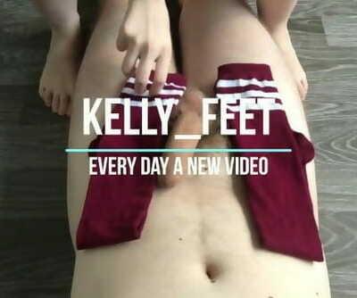 Teen Footjob & Sockjob with Knee High Socks Cum shot